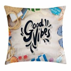 Good Vibes Throw Pillow Cushion Cover, On the Beach Concept Seacoast Shoreline Vacation Holiday Travel Wellness Theme, Decorative Square Accent Pillow Case, 24 X 24 Inches, Multicolor, by Ambesonne #beachthemedweddings