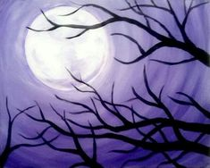 Purple Moon Tree - Wine and Canvas.make it orange for Halloween. Wine Painting, Painting & Drawing, Wine And Canvas, Beginner Painting, Plantation, Moon Art, Art Club, Halloween Art, Pictures To Paint