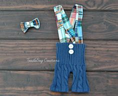 """Newborn Photography Set  Upcycled Blue Overall Shorts with """"Patchy"""" Suspenders And Bow Tie by ToodleBugCreations, $26.50"""