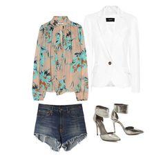 Floral top, denim shorts, white blazer, silver stilletoes
