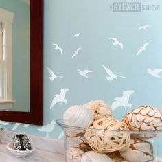 St Ives Seagulls Stencil - Buy reusable wall stencils online at The Stencil Studio.