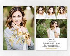 Senior Graduation Announcement Template for Photographers PSD Flat card - Graduation Template - Photography Template  G001