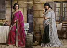 Truly elegant chiffon saree in pink & red color combination with embroidery work in whole saree having golden border  AND Gorgeous  black color chiffon material saree with white pallu & broad embroidered border patti