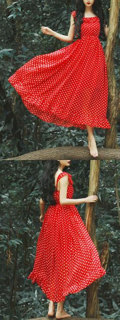 Red Polka Dot Spaghetti strap Ruffle Hem Dress This reminds me of Lela's dress in TBM AND TBM2 even the girl has the hair and lips and skin I thought it was her at first