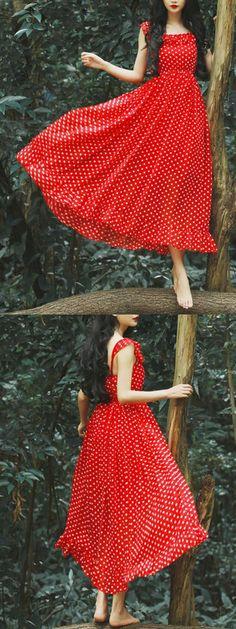 Red Polka Dot Spaghetti strap Ruffle Hem Dress