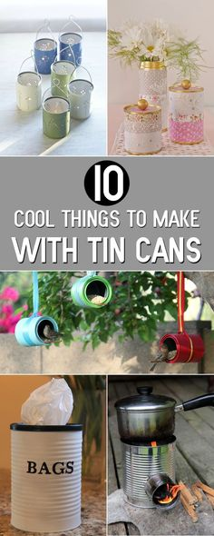 Over 90 recycled projects that actually transform your home - Upcycled Crafts Tin Can Crafts, Crafts To Make, Fun Crafts, Crafts With Tin Cans, Upcycled Crafts, Plastik Recycling, Recycler Diy, Recycled Tin Cans, Recycle Cans