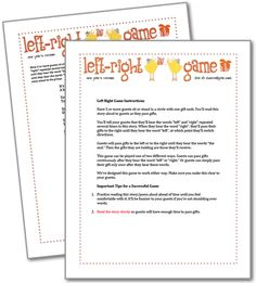 Left Right Birthday Printable Party Game | Kids ...