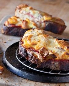 """Croque-Montagnarde - Like Croque Monsieur, but a more robust version, thanks to potatoes laced with olive oil. Recipe and image reprinted with permission from """"Tartine Bread,"""" by Chad Robertson, with photographs by Eric Wolfinger. Hot Sandwich Recipes, Lunch Recipes, Cooking Recipes, Delicious Sandwiches, Healthy Recipes, Food Styling, Good Food, Yummy Food, Braised Pork"""