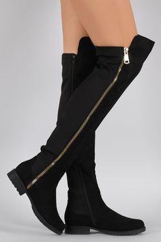 Bamboo Zipper Suede Stretchy Over-The-Knee Riding Boots | UrbanOG
