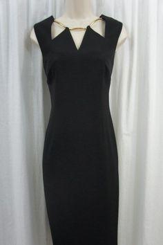 Kasper Dress Petite Sz 4P Black Gold IBIZA Career Cocktail Sheath Dress  #Kasper #Sheath #WeartoWork