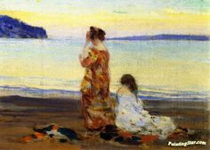 Beach Scene, Baie-saint-paul Artwork By Clarence Gagnon Oil Painting & Art Prints On Canvas For Sale Canadian Painters, Canadian Artists, Seascape Paintings, Landscape Paintings, Oil Paintings, Clarence Gagnon, Art Plage, Art Parisien, Art Français