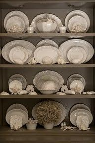 Kitchen cabinet color with white dishes ironstone and seashells - John Jacob Interiors Hutch Display, Dish Display, China Cabinet Display, Shelf Display, Vibeke Design, White Dishes, White Plates, White Pitchers, Transitional House