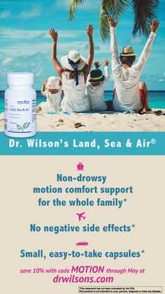 Summer vacation is just around the corner! Don't forget about motion comfort. Through May save 10% on Dr. Wilson's Land, Sea & Air® - non-drowsy support for motion comfort safe for the whole family to help make travel less stressful*. Just use code MOTION at drwilsons.com! *This statement has not been evaluated by the FDA. This product is not intended to cure, treat, prevent or diagnose any disease. Effects Of Stress, Good Manufacturing Practice, Adrenal Fatigue, Side Effects, Landing, Don't Forget, Herbalism, The Cure, Corner