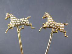 pr 14K Gold Stick Pins w/ Horses / Thoroughbred w/ seed pearls & ruby eyes
