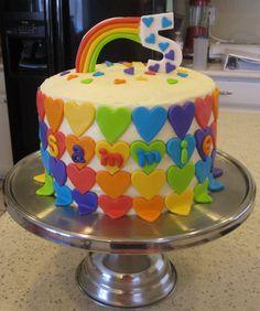 little girl rainbow birthday cake