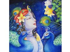 Buy Karshati eti Krishna - original artwork by Madhvi Dhanak - ArtOfColors offer contemporary and modern art . Find the best art you love on ArtOfColors. Radha Krishna Love Quotes, Krishna Images, Krishna Radha, Lord Krishna, Hare Rama Hare Krishna, Radha Krishna Wallpaper, Painting Competition, Krishna Painting, Indian Art Paintings