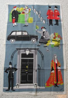 London Characters #2 souvenir Irish linen tea towel.