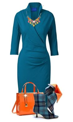 """""""Zompy Teal Fitted Dress"""" by maison-de-forgeron ❤ liked on Polyvore featuring Winser London, Dasein and Vivienne Westwood"""