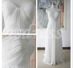 Ivory Chiffon Strapless Sweetheart Neckline Prom Dress by ASDRESS
