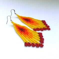 Yellow With Red EarringsEthnic Style Earrings от Galiga на Etsy