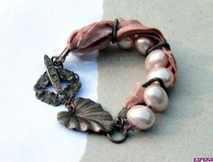 Salmon pink, chunky, asymetric, mother of pearl, MOP, sari silk, vintage brass, bohemian bracelet by Esfera Jewelry