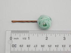 Mint Rose Flower Bobby Pin : Rose Kanzashi by LilsHandmadeGarden