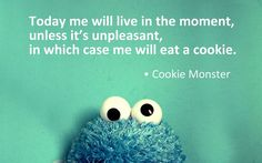 cookie monster living in the moment