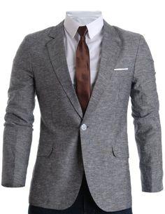 FLATSEVEN Mens Slim Fit Linen Stylish Casual Blazer Jacket Grey #FLATSEVEN #MEN #FASHION #BLAZER JACKET http://www.flatsevenshop.com/blazers/