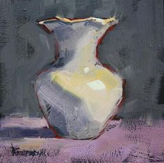 """Daily Paintworks - """"Vintage Ironstone Vase"""" - Original Fine Art for Sale - © Cathleen Rehfeld Still Life Drawing, Still Life Art, Oil Pastel Paintings, Daily Painters, Guache, Sketch Painting, Scripture Art, Pottery Painting, Painting Techniques"""