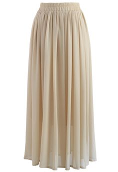 Nude Chiffon Maxi Skirt - Skirt - Bottoms - Retro, Indie and Unique Fashion