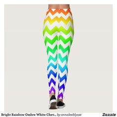 Bright Rainbow Ombre White Chevron Leggings