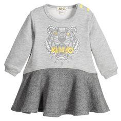 68e670a6a07 Baby Girls Grey Tiger Sweatshirt-Dress