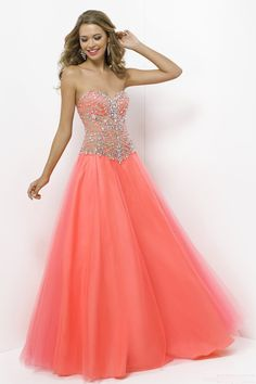 Charming Tulle Beaded Sweetheart Floor-length Prom Dress With Diamond