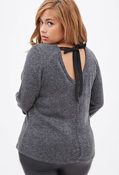 Plus size = Curvy Girl  Ribbon-Back Fuzzy Sweater = Adorable
