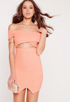 Missguided - Ribbed Bardot Bodycon Dress Nude