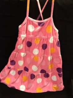 Girl Clothes Op Sundress Swim Coverup Pink Polka Dot Size 7-8 Cotton Blend Tiered Flouncy Classicsncollectiblesbycheryl.com