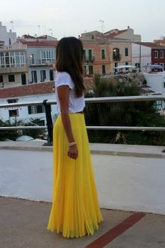 Colorful yellow skirt and white tee outfit