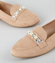 Cream Suedette Embellished Loafers   New Look