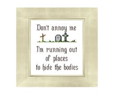 Don't Annoy Me! - Mature Funny Counted Cross Stitch Pattern - Graveyard - Instant Download by Valethea on Etsy
