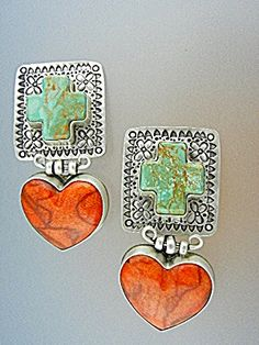 David Troutman Sterling Silver Apple Coral Hearts Turquoise Cross's Silver Creations Southwest Designer Gundi Clip Earrings 2 1/2 inches