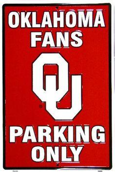 Oklahoma Sooners NCAA 12 X 18 Metal Embossed Parking Sign