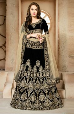 41f41dccc9ff0 Buy online black and cream embroidered and patch border designer lehenga  choli. This designer lehenga choli is made with exclusive embroidered and  patch ...