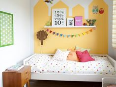 Yellow buildings on the wall #kids #decor