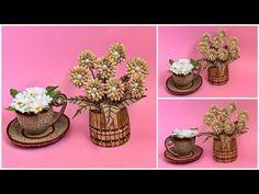 Diy Jute Home Decor/ Jute Craft Ideas/ Jute Flower Vase Handmade Crafts, Diy And Crafts, Arts And Crafts, Sisal, Jute Flowers, Cardboard Recycling, Recycled Books, Stick Art, Burlap Crafts