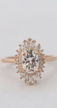 Oval Halo Gold Engagement Ring