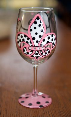 Polka Dot Fleur De Lis  painted wine glass. $17.00, via Etsy.