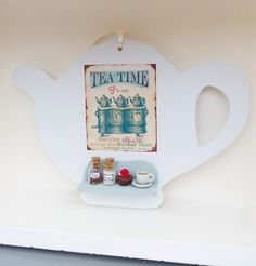 Shabby chic romantic handmade tea pot by ManthaCreaMiniatures