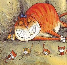 Alice Vegrova. Chat orange faisant la sieste et les souris dansent.