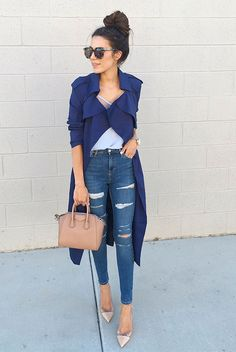 spring outfit, summer outfit, fall outfit, casual outfit, night out outfit, street chic style, summer trends 2016 - blue trench coat, blue cami top, distressed skinny jeans, nude heels, nude mini bag, brown round sunglasses
