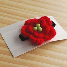 Christmas Hair Clip Crochet Flower Hair Clip Girl by SpunkyBunny, $4.00